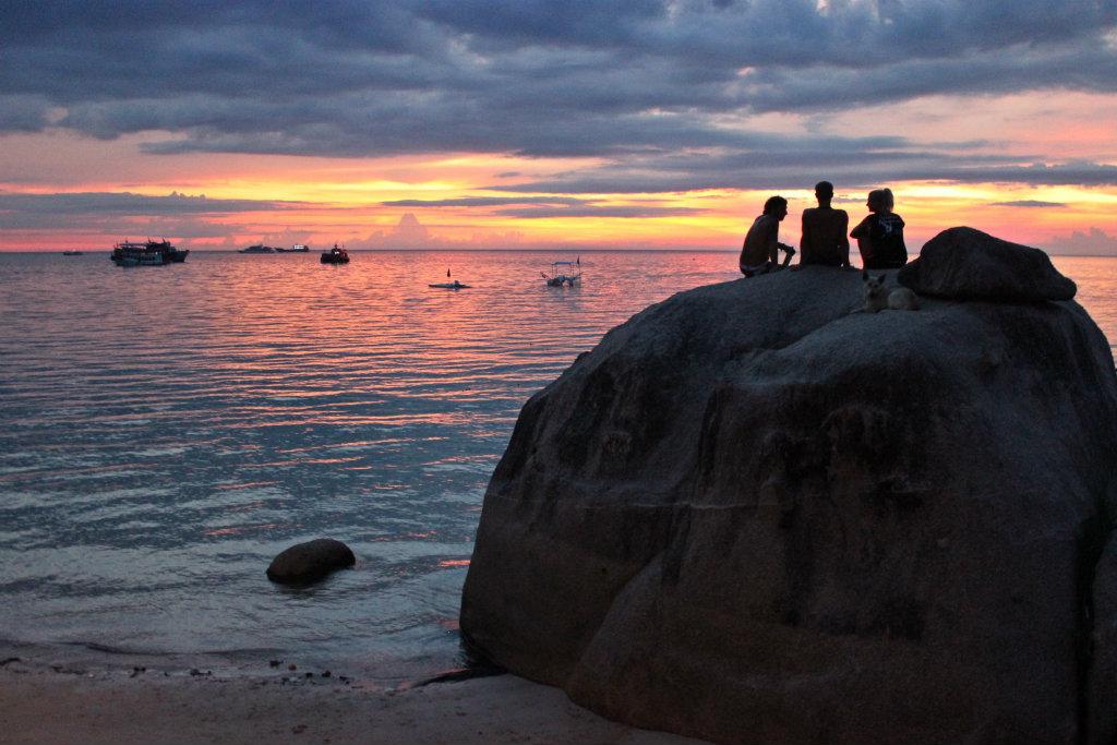 thuiskomen, sunset Koh Tao