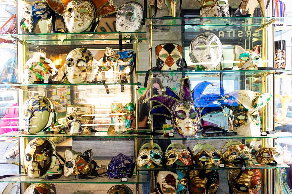 Art is everywhere in Turin, like these Venetian masks.