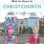 Twee spuitflessen met street art als kunstwerk op straat in Christchurch, Nieuw-Zeeland
