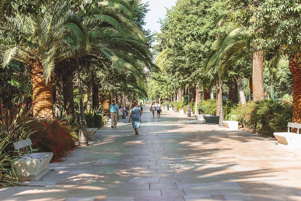 Boulevard met marmeren stenen omringd door palmbomen in Málaga in stadspark.