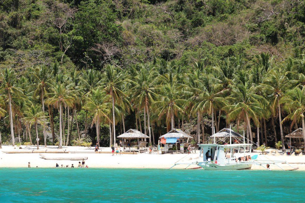Zicht over azuurblauw water en wit strand met palmbomen.