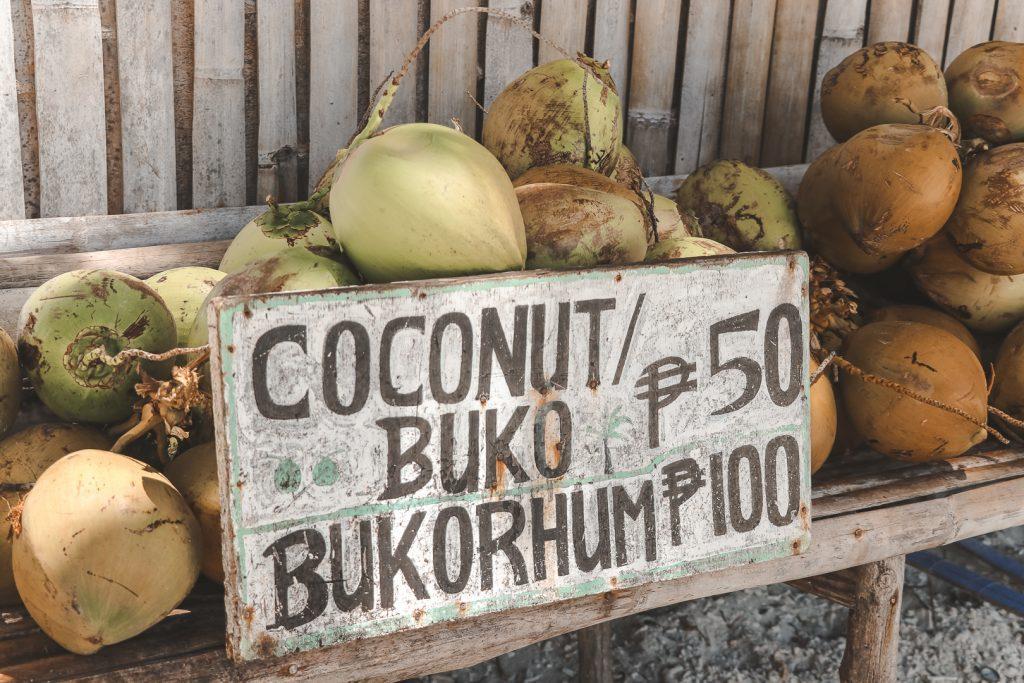 Kokosnoten met houten bordje ervoor.