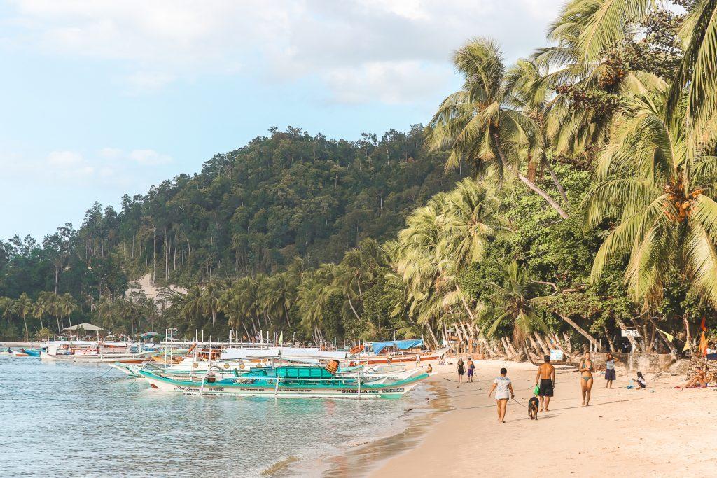 Het strand met palmbomen en vissersbootjes van Port Barton.