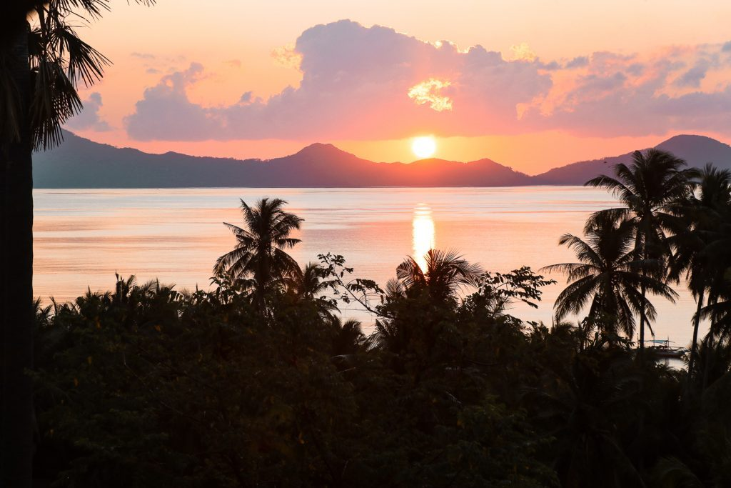 Oranje zonsopkomst boven zee en palmbomen.