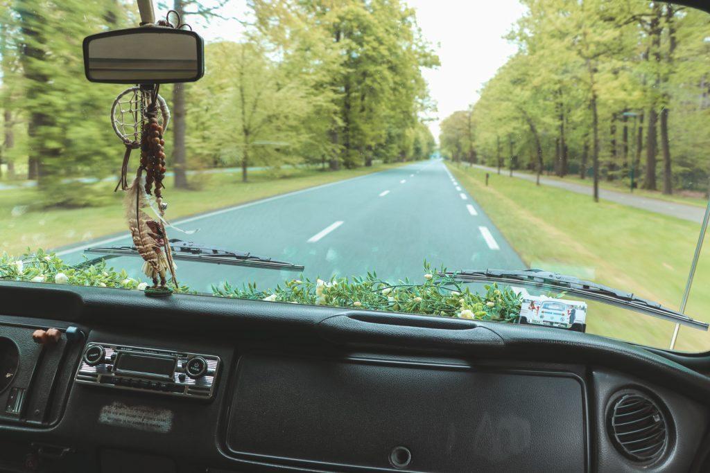 Uitzicht vanuit Volkswagen Oldtimer naar bossen en weg.