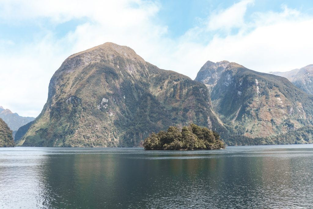 Grijsegroene fjorden in Doubtful Sound