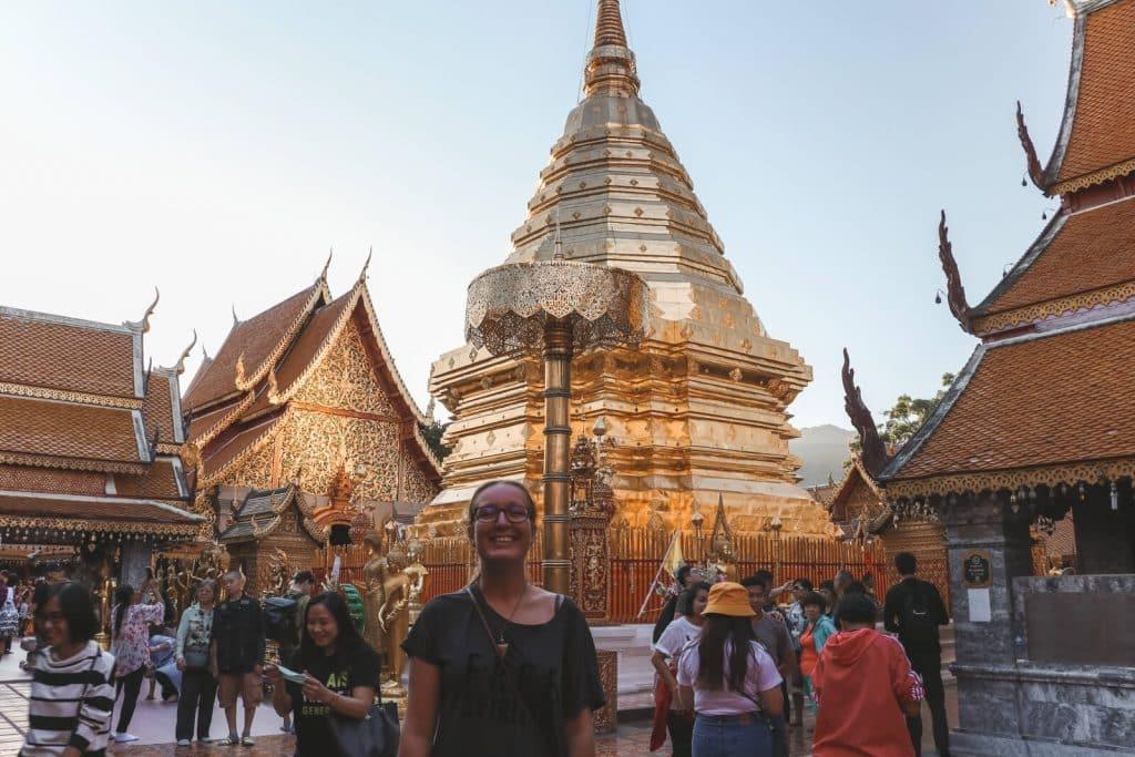 Gouden stoepa van Wat Doi Suthep, tempel in Chiang Mai Thailand