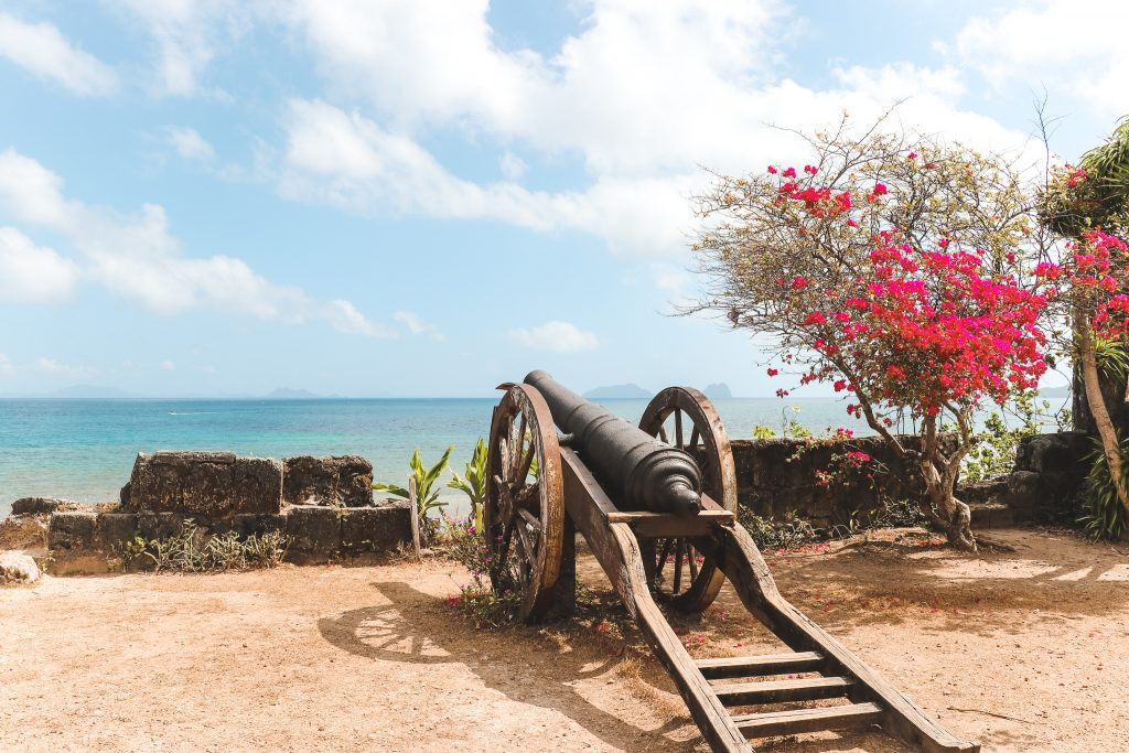 Kanon op Fort Santa Isabel naast boom met roze bloemen