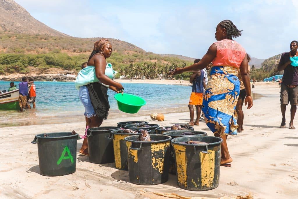 Twee Kaapverdiaanse vrouwen die vissen in emmers stoppen