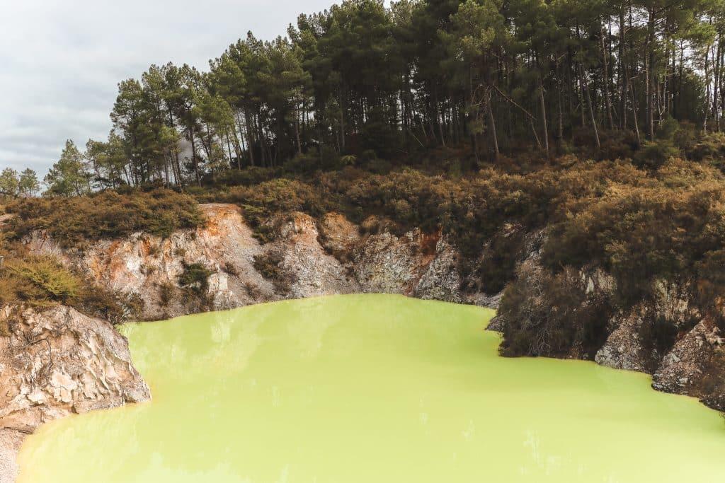 Felgroen water in Devils Cave Pool Wai-O-Tapu Nieuw-Zeeland